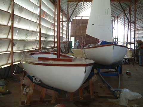 Sailing boat in the boatyard