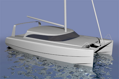 Sailing catamaran rendering