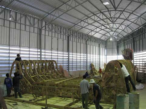 Construction in progress of the P1500 Catamaran
