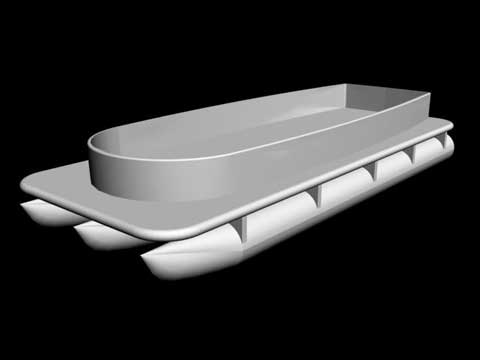 Powered pontoon fiberglass computer rendering