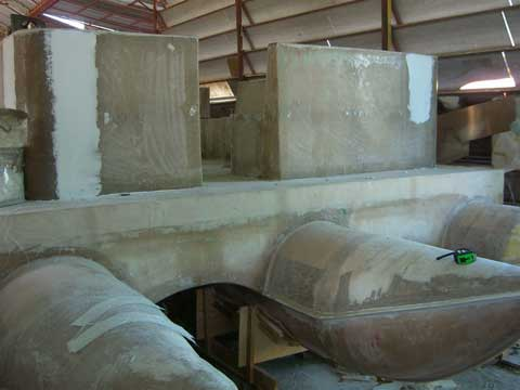 Powered pontoon fiberglass during the building of the deck, photo taken from the prow