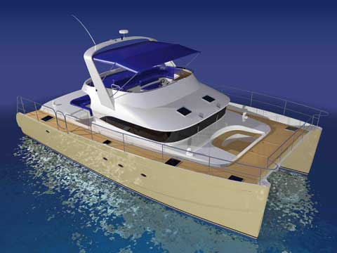 Power catamaran 3d rendering