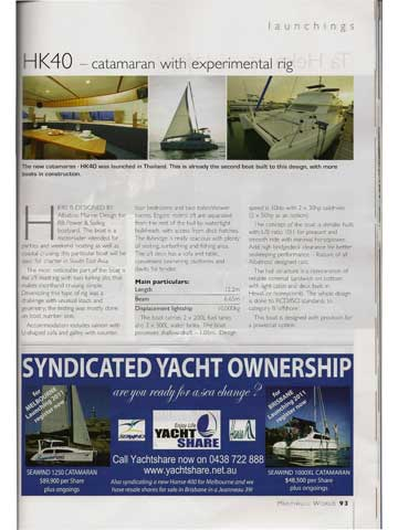 Multihull World - March/April 2011 - Click to zoom.