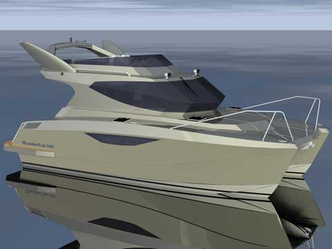 Rendering of the Warrior Power Catamaran 30' - Click to zoom.