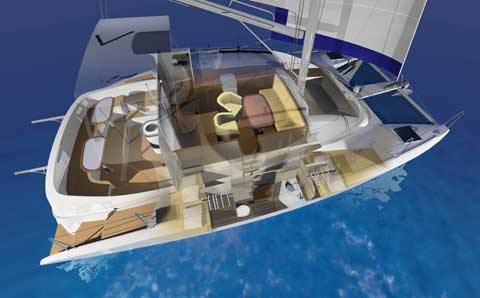 Sailing and power Catamaran RB 34' rendering with sail - Click to zoom