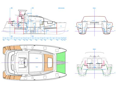 Sailing and power Catamaran RB 34' Project - Click to zoom